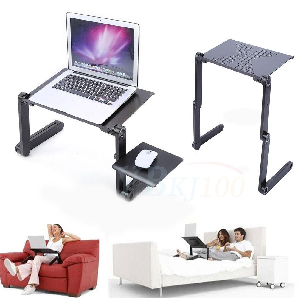 Protable Foldable Aluminum Laptop Notebook Desk Table Mouse Tray