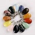 Assorted Pedra Natural Gota de Água Pingentes Ametista & Opalite Pêndulo De Cristal obsidian Chakra Reiki Cura Beads & Frete grátis