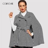 COLROVIE черный офис себя поясом Хаундстут плед накидка полушерстяные зимнее пальто для женщин осень 2018 г. мода плащ рукав Верхняя одежда