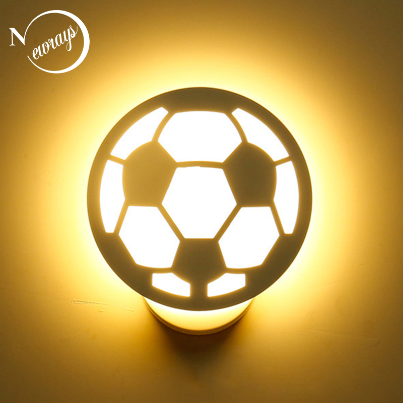 Modern acrylic white soccer wall lamp LED creative art deco painted football wall light for bedroom living room aisle corridor modern wall light nordic style wall lamp simple gypsum bed lamp bedroom corridor wall lamps creative white art deco lighting