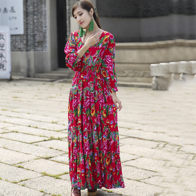 fb682aa15c4a Long Red Dress O-Neck Long Sleeve Pakistan Arabic Muslim Abaya Print  Vintage Maxi Dress Linen Robes Winter Autumn Vestidos