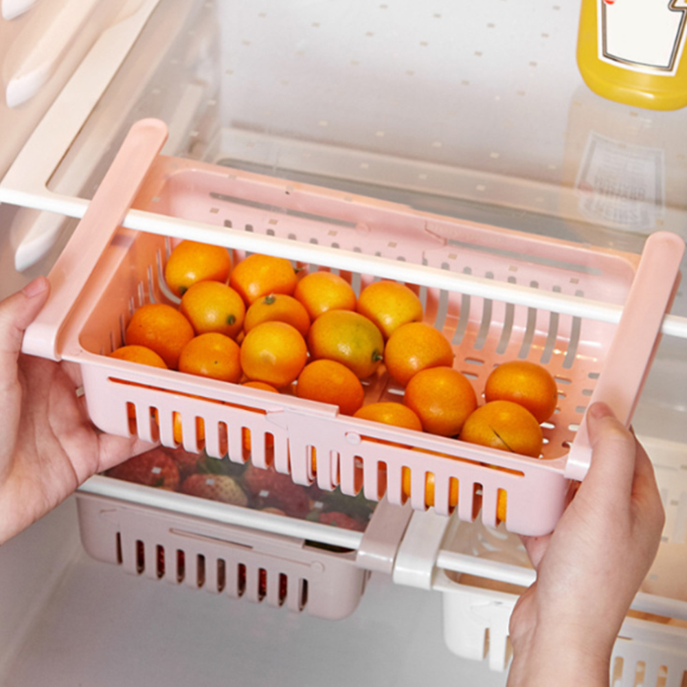 Stretchable Multifunction Kitchen Refrigerator Storage Box Rack Fridge Freezer Shelf Holder Pull-out Drawer Home Organiser