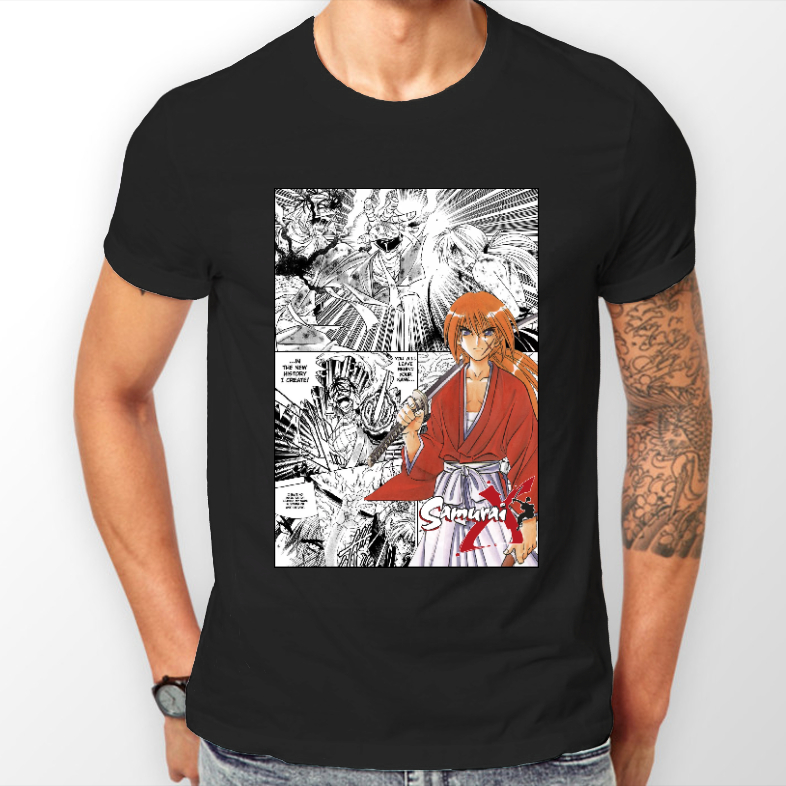 Rurouni Kenshin Manga Strip Samurai X Anime Unisex Tshirt T-Shirt Tee ALL SIZES 100% Cotton Short Sleeves Tee Shirts