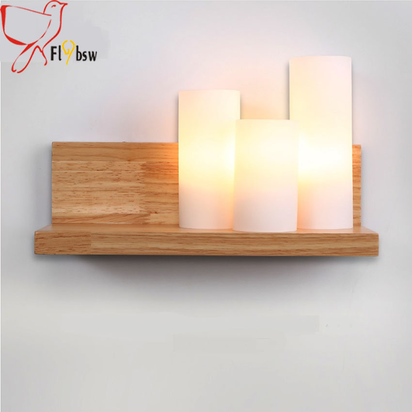 Modern simple Solid Wood Sconces LED Wall Light,3*E27 candle shape frosted glass Japanese wall lamp for Bedroom lighting fixture декоративні лампи із дерева у стилі бра