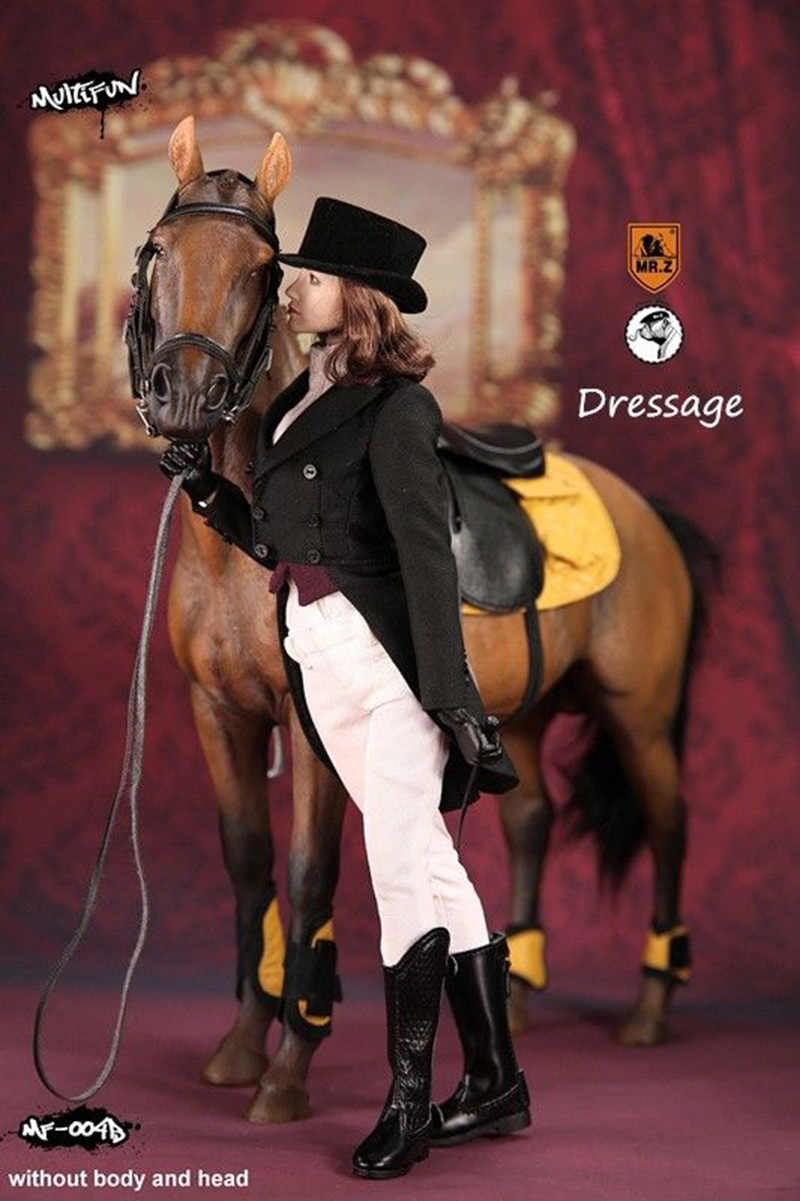 """Mr. z multifun 1/6 adestramento mf004b hanoverian cavalo modelo com mulher/homem roupas para 12 """"figura de ação"""