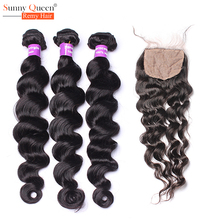6A Eurasian Loose Wavy Hair Weave Bundles with Closure Eurasian Virgin Hair with Closure 4Pcs/Lot Silk Base Closure with Bundles