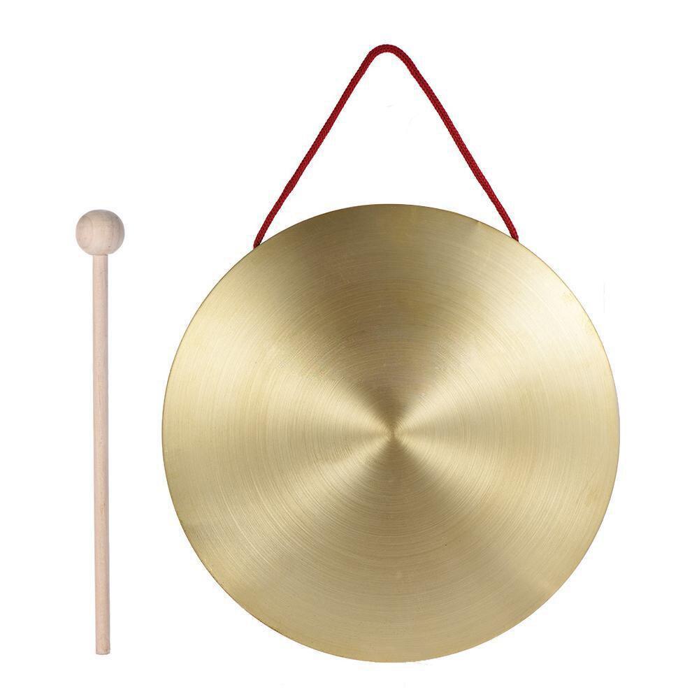 22 cm Mano Gong Ottone Rame Cappella Opera A Percussione con Rotonda Gioco Martello