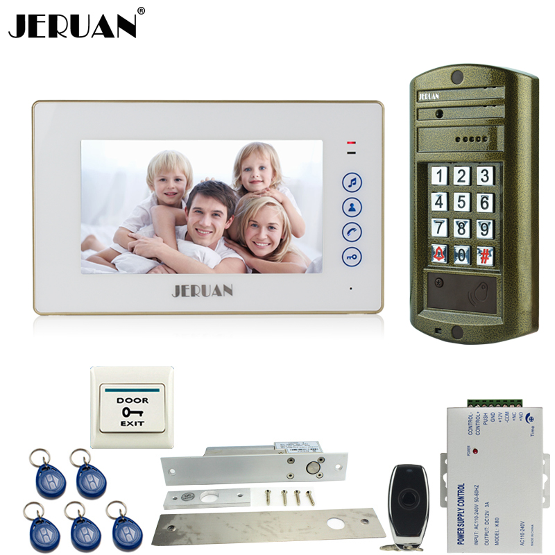 JERUAN 7`` touch key Video Door Phone Intercom System kit 1 Monitor+ Metal Waterproof Access password keypad HD Mini Camera jeruan wired 8 video doorphone record intercom system kit 3 monitor new rfid waterproof touch key password keypad camera 8g sd