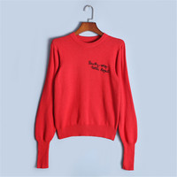 Runway Designer Sweater Women Pullover 2018 New Spring Jersey Knit Tops Offcie Lady Letters Beading Sweater High Quality Jumper