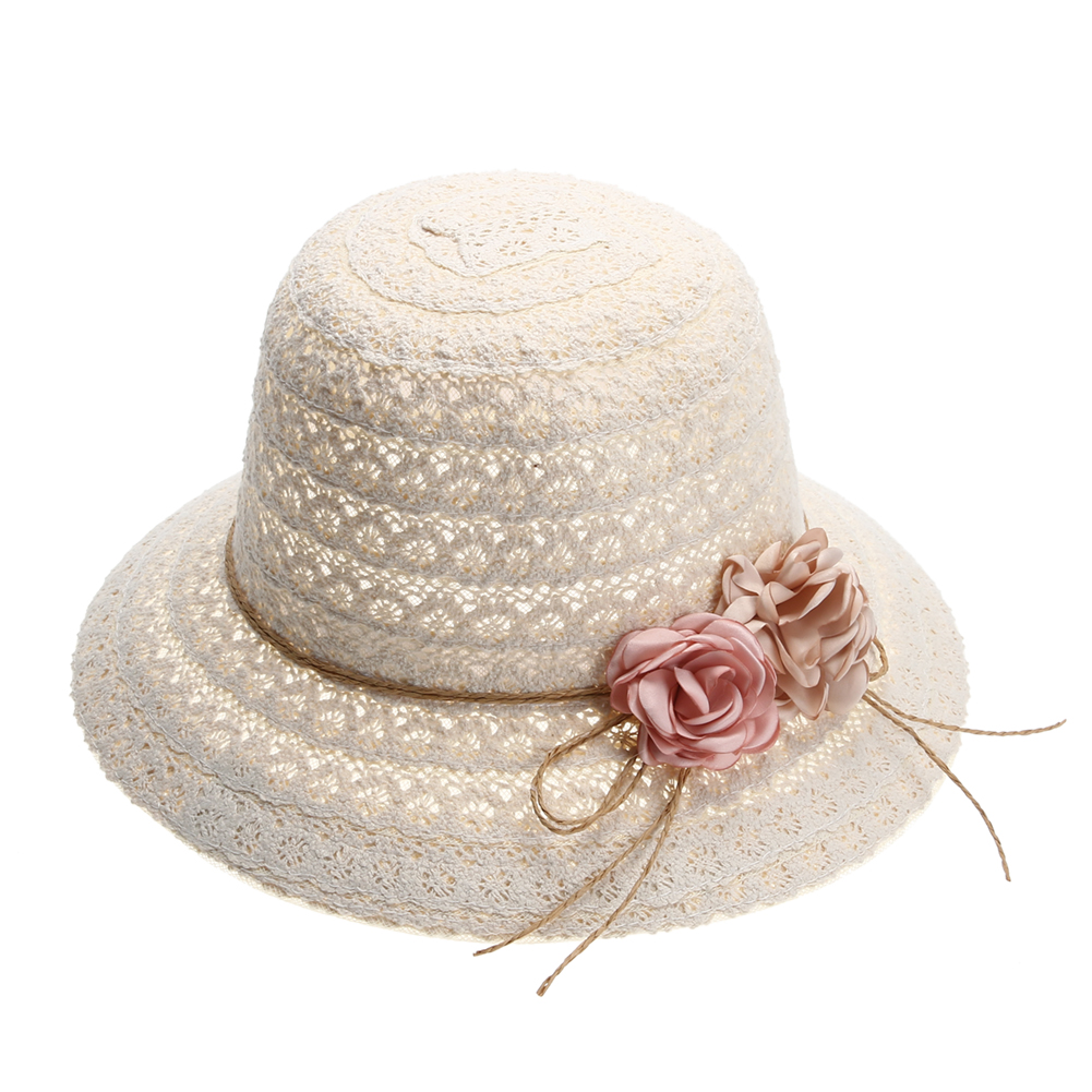 3d1639f13ca40 Fashion Lady Woman Lace Summer Sun Caps Hats for Women Wide Brim Beach Side Caps  Female Floppy Straw Hat Girls Beach Hats