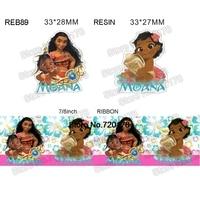 printed cartoon Moana grosgrain ribbon and resin sets 7/8inch 50yard ribbon and 50pcs resin 1 set REB89