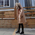 Winter Wool Jackets Blazers 2017 Thick Fur Hooded Horn Button Casual Elegant Camel Brown Wool Coats Women's Wool Peacoats YY473