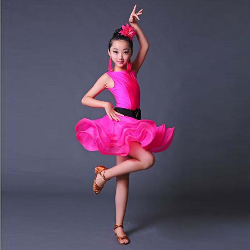 Latin Dress Girls latin dance dress for girls costumes kids clothes ballroom competition dresses fashion leotard Blue and pink