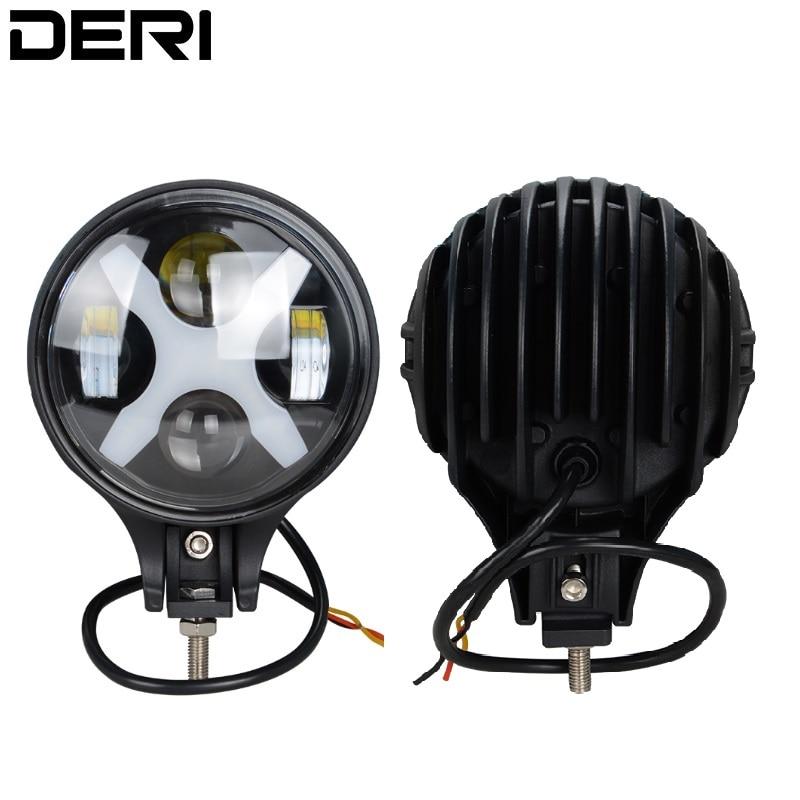 6 Inch 60W X Style Angle Eyes LED Work Light Fog Driving Day Light Spotlight 12V 24V Headlight For Jeep Trucks Offroad SUV
