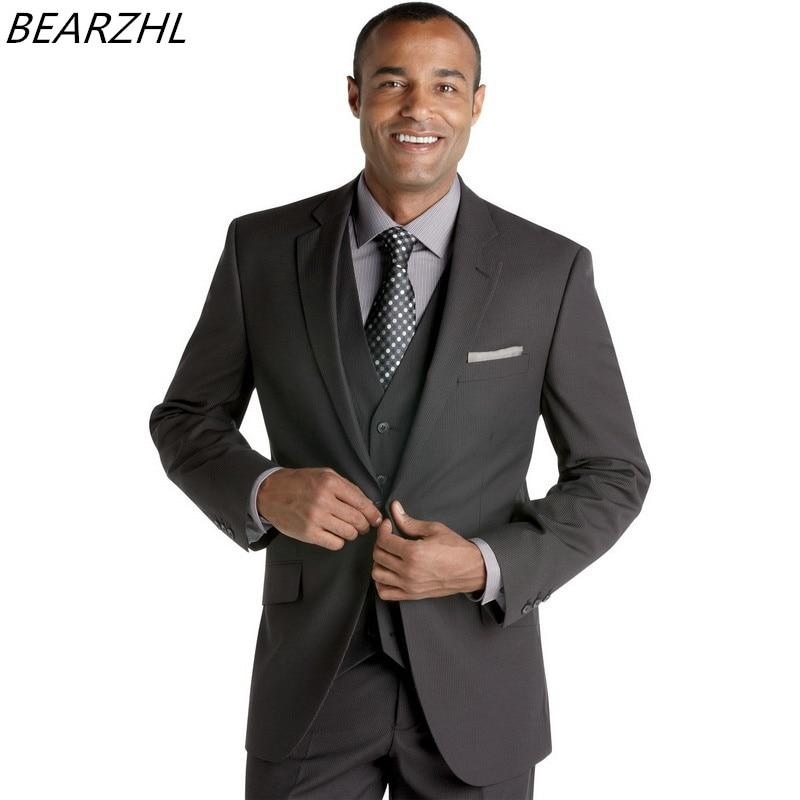 Groom Tuxedo For Wedding Suit Dark Gray Custom Made Suits 3 Piece 2020