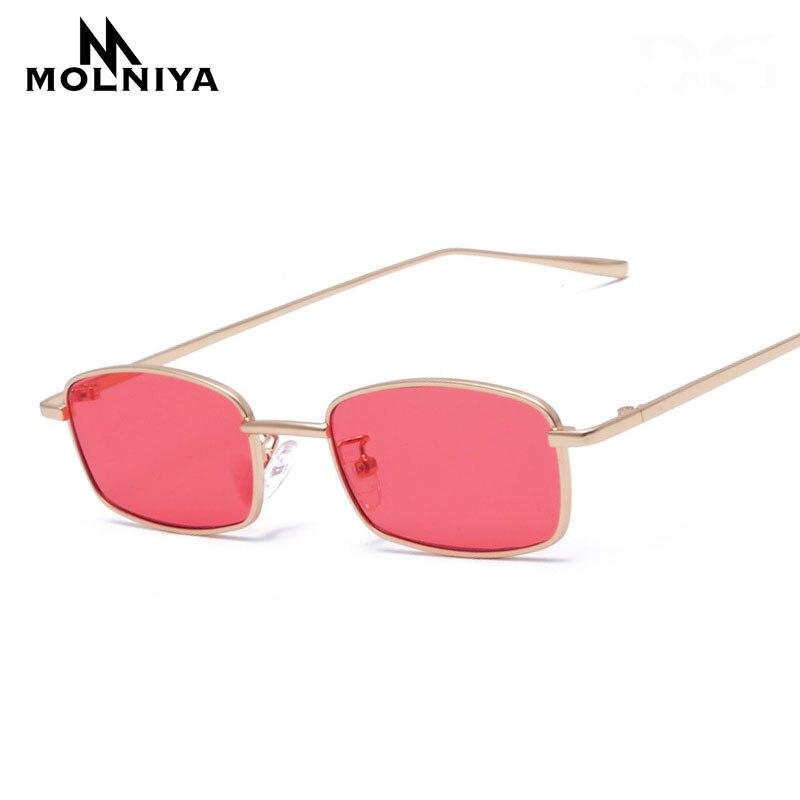6cb594258c MOLNIYA 2019 gafas de sol rectangulares estrechas pequeñas mujeres hombres  marca rojo claro lente Delgado alambre Retro gafas de sol sombras Oculos