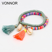 VONNOR Handmade Jewelry Bracelets for Women Fashion Colorful Fimo Beads Bracelet with Shell Tassel Girl