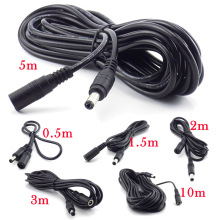 цена на Female to Male Plug CCTV DC Power Cable Extension Cord Adapter 12V Power Cords 5.5mmx2.1mm For Camera Power Extension Cords
