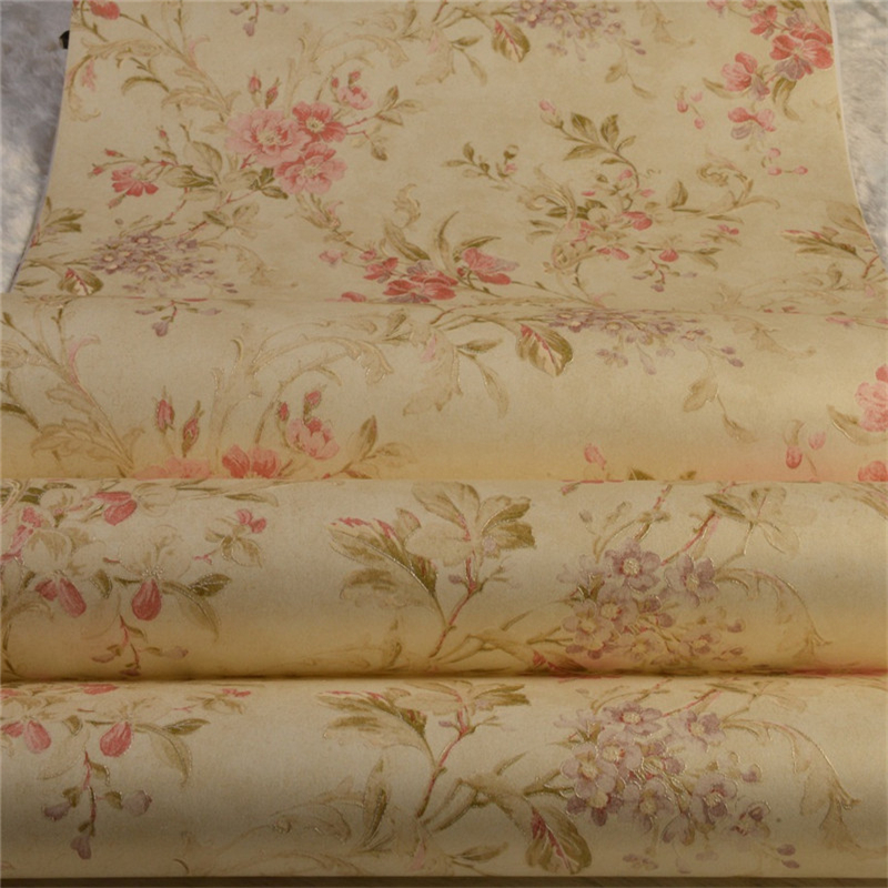beibehang floral Non Woven flocking wallpaper for bedroom living room girls room home decoration wall paper papel parede блузка с v образным вырезом с принтом и длинными рукавами