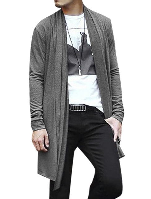 C50 Men Shawl Collar Open Front Pockets High Low Hem Long Cardigan ...