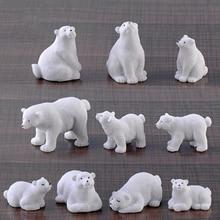 1 шт. милый белый медведь собаки Гусь Смолы MiniaturesBonsai украшения животные фигурки микро Пейзаж украшения