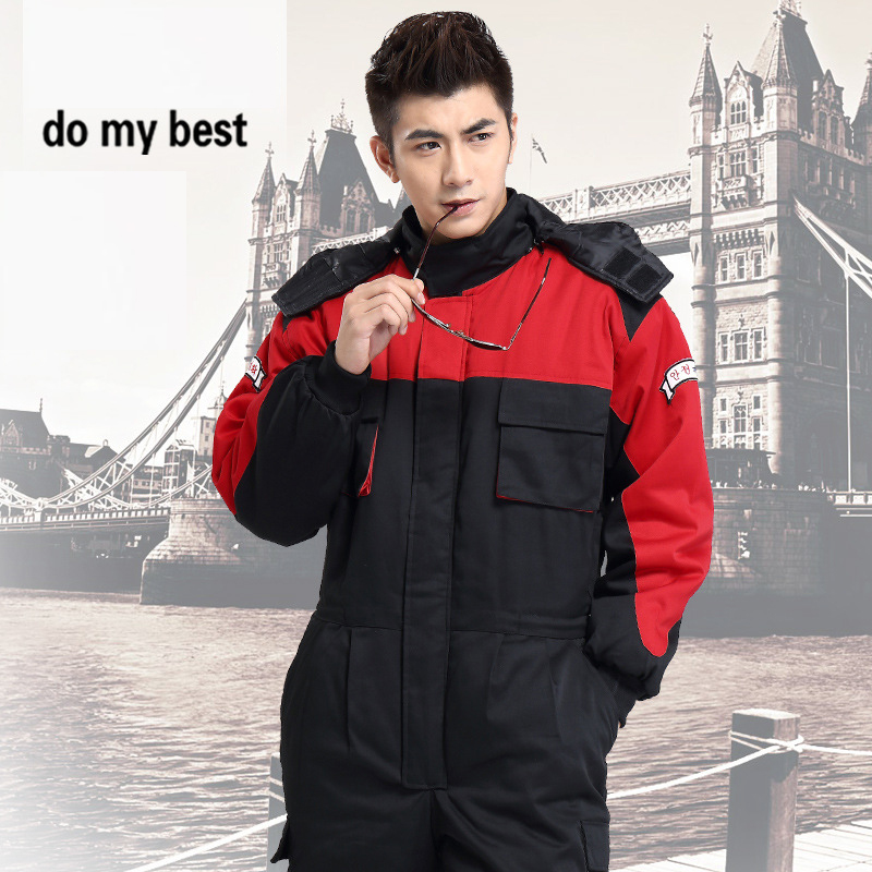 Thicken Warm Cotton Work Coveralls for Unisex Adult in Cold Season, Fashion Workwear Uniform,Factory Uniform, Free Shipping factory workman safety clothing thicken warm windproof cotton jumpsuit sets free shipping