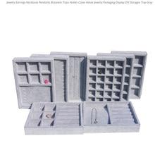 Ящик для шкатулки для ювелирных изделий «сделай сам», серый мягкий бархатный органайзер для хранения серег, ожерелий, подвесок, браслетов, 9 вариантов