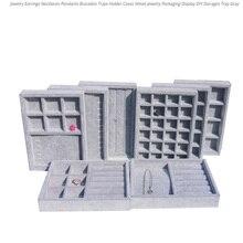 Caja de almacenamiento para joyas, organizador de cajones para joyería DIY, terciopelo suave gris, pendientes, collar, colgante, pulsera, bandeja de 9 opciones
