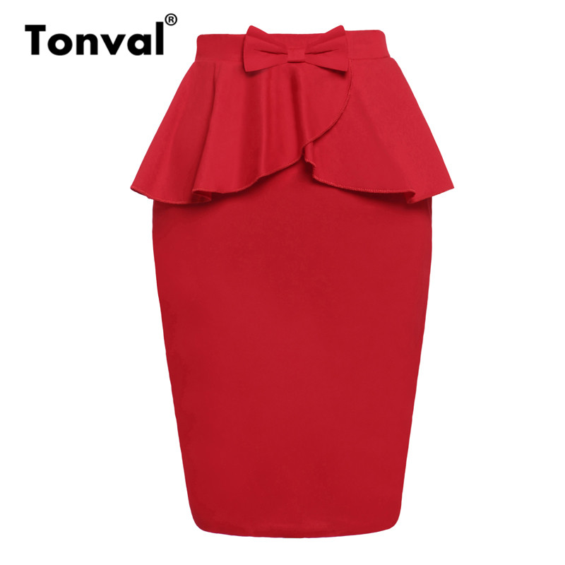 Tonval Red Solid Ruffle Office Lady Pencil Skirt Women Bow Vintage Slit Back Bodycon Skirts Ladies Summer High Waist Skirts