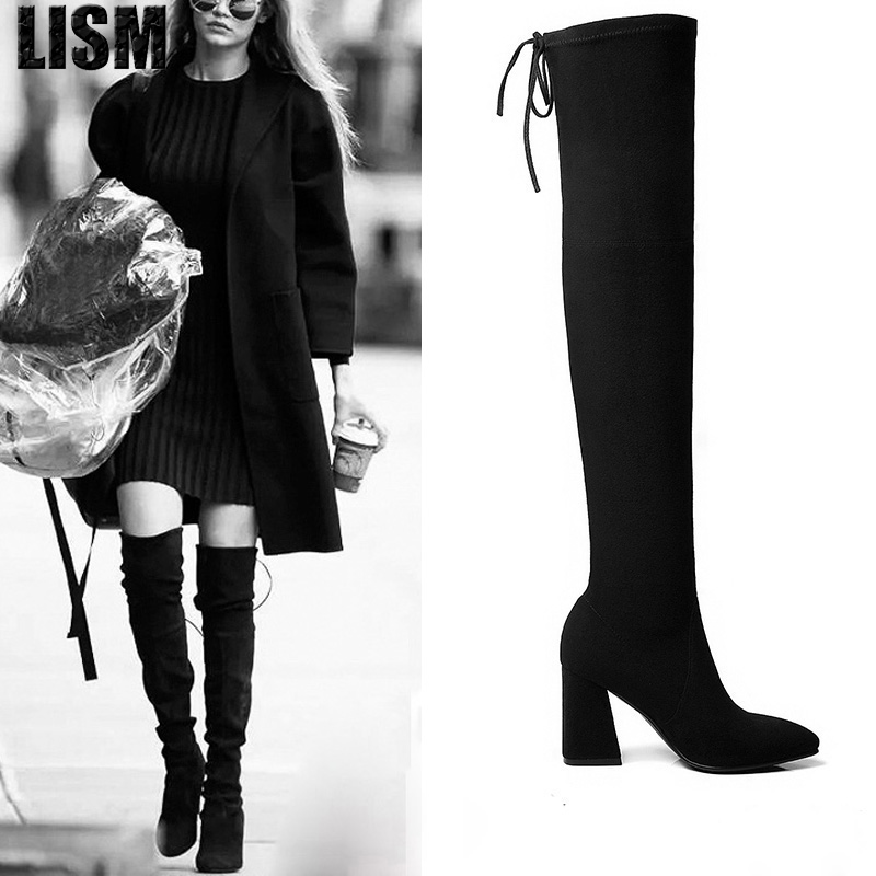 2018 winter boots long over the knee boots thick with elastic high-heeled boots thigh high boots asysplnx brand 2018 winter fashion boots pointed elastic thick heeled knee like zippered women s boots b082