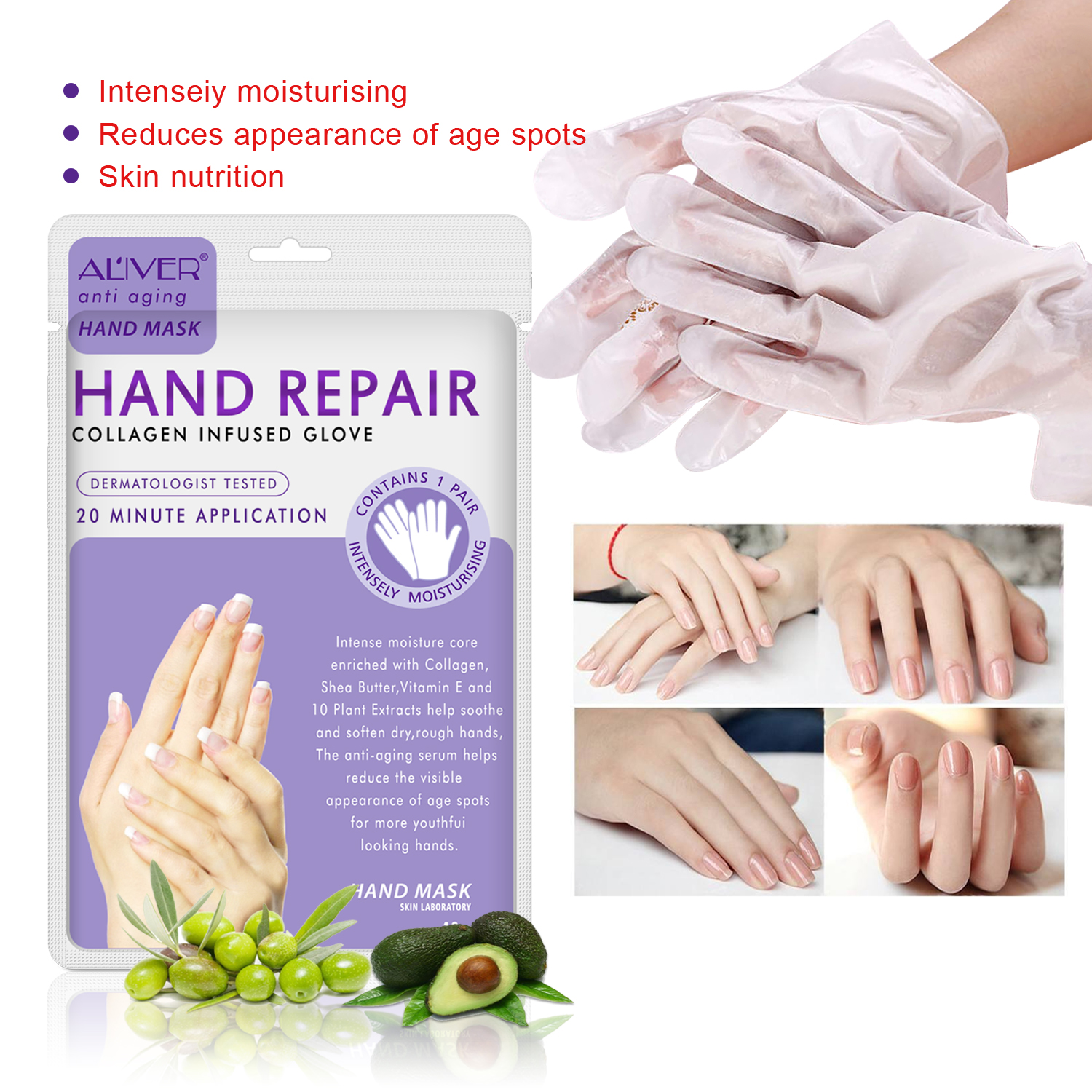 2pcs/Pair Moisturizing Soft Hand Mask Hyaluronic Dead Skin Remover Smooth Whitening Anti-Aging Hand Care Hand Mask TSLM2