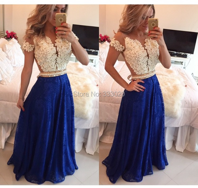 Online Get Cheap Royal Blue and White Lace Prom Dress -Aliexpress ...