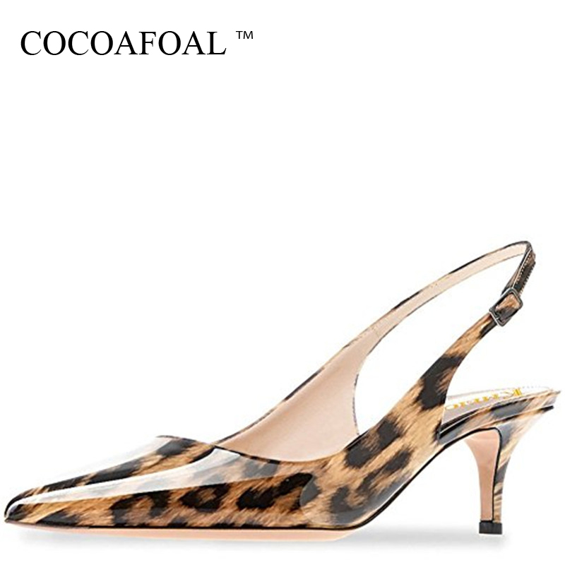 COCOAFOAL Women Purple Heels Leopard Sandals Plus Size 43 44 Low Heel Shoes Leopard Sandals Sexy Green Summer Red Wedding Pumps fashion tassels ornament leopard pattern flat shoes loafers shoes black leopard pair size 38