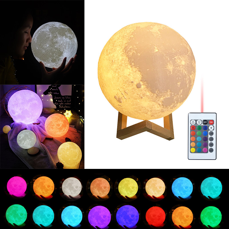 Moon Lamp 3D Printing Led Night Light Moonlight USB Rechargeable For Home Decoration CLH@8