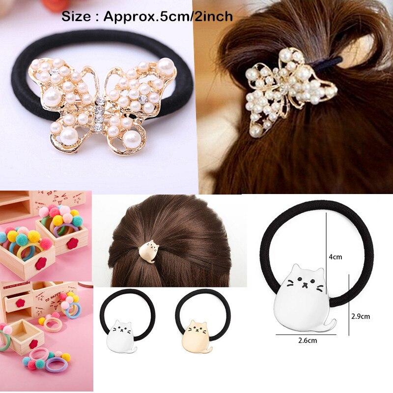 2//5//10 Pcs Cute Balls Elastic Hair Rope Ponytail Holder Headwear Random SZFF