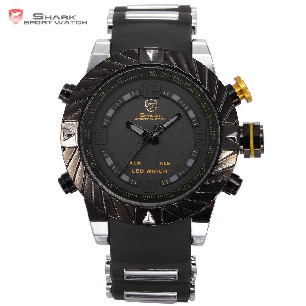 Prix pour Marque de luxe goblin shark sport montre hommes relogio masculino 3d conception bande de silicone led numérique noir quartz mens montres/sh168