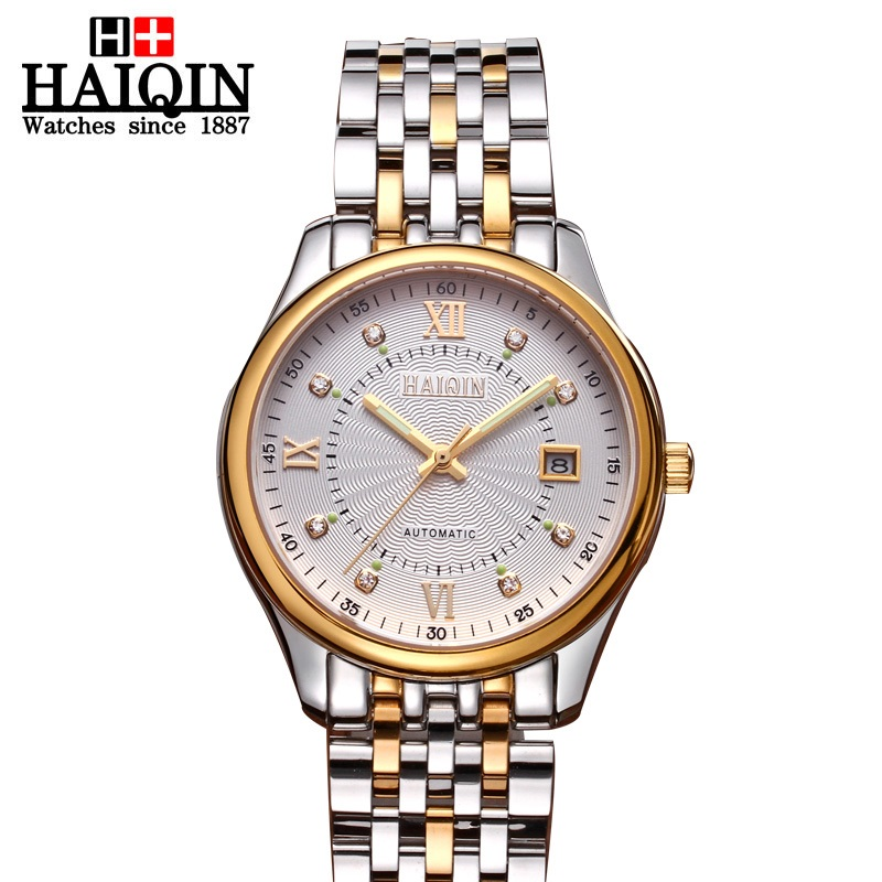 Hot sale 2017 Business Mens Watches Top Brand Luxury Stainless Steel 18k Gold Mechanical Wristwatch waterproof Relogio Masculino