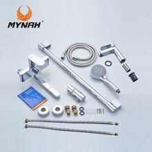 MYNAH Rusia envío gratis 3 en 1 combinación conjunto de Ducha sistema de Ducha estante Ducha estante Ducha Tropical con mezclador de baño mezclador