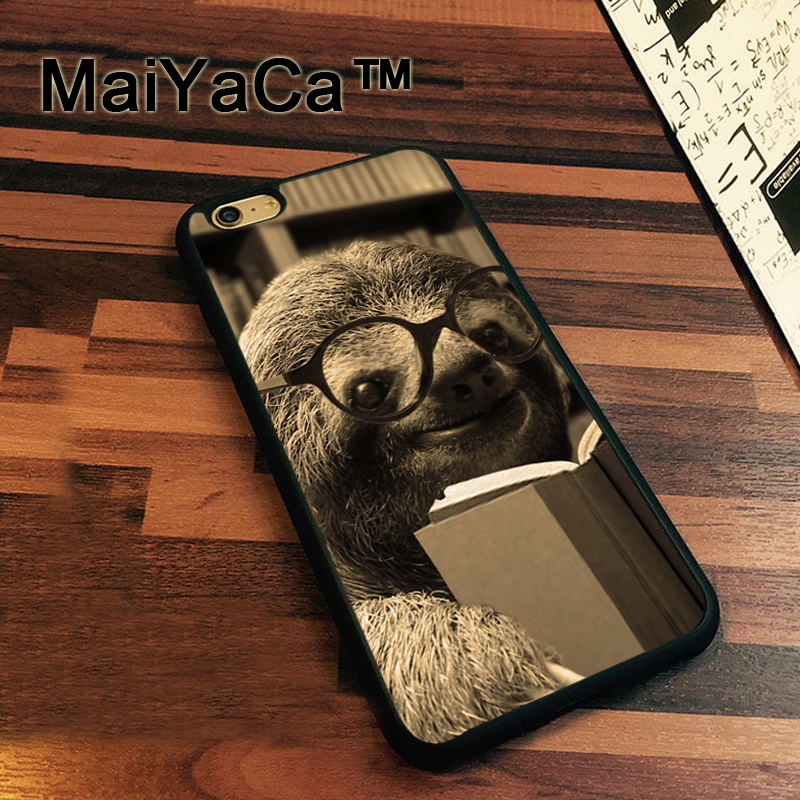 MaiYaCa Baby Sloth Reading Book Case For iPhone 7 Cases Slim Rubber Coque For iPhone7 Soft TPU Back Cover For iPhone 7