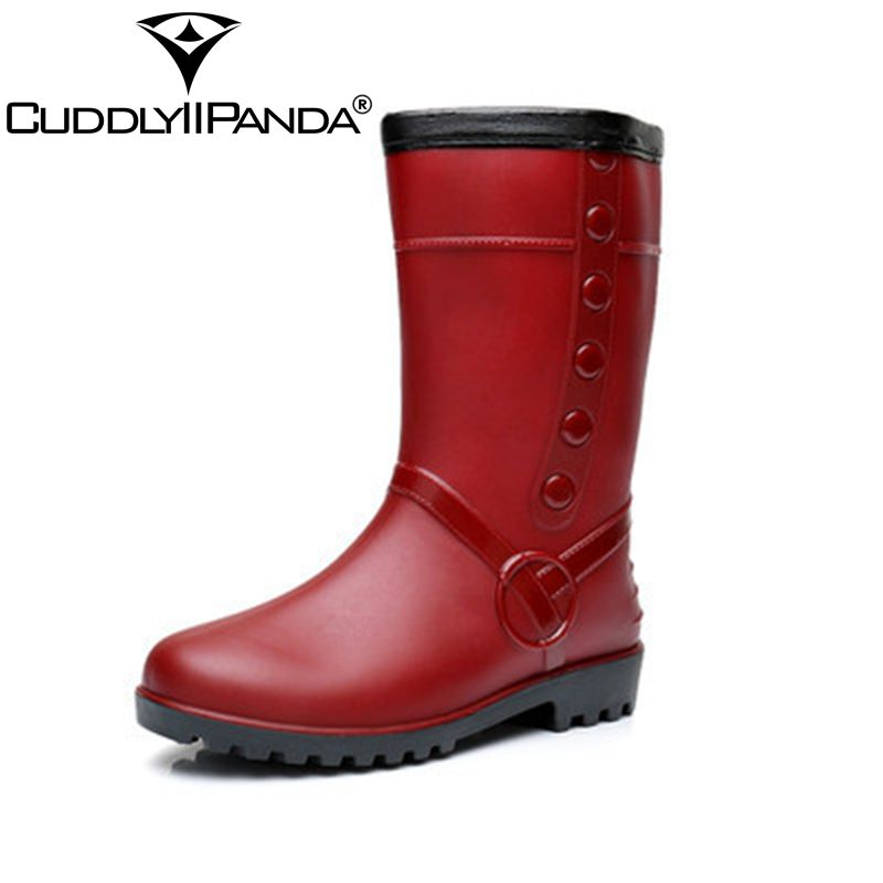 CUDDLYIIPANDA 2018 Thicken Waterproof Warm Rain Boots Waterproof Winter Shoes Women Rain Girl's Water Rubber Boots Slip on Botas yub brand waterproof rain boots for women with solid color slip on winter mid calf shoes for girls
