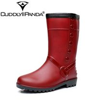 CuddlyIIPanda Brand Thicken Waterproof Warm Rain Boots Waterproof Winter Shoes Women Rainboots Fashion Rubber Slip On Boots