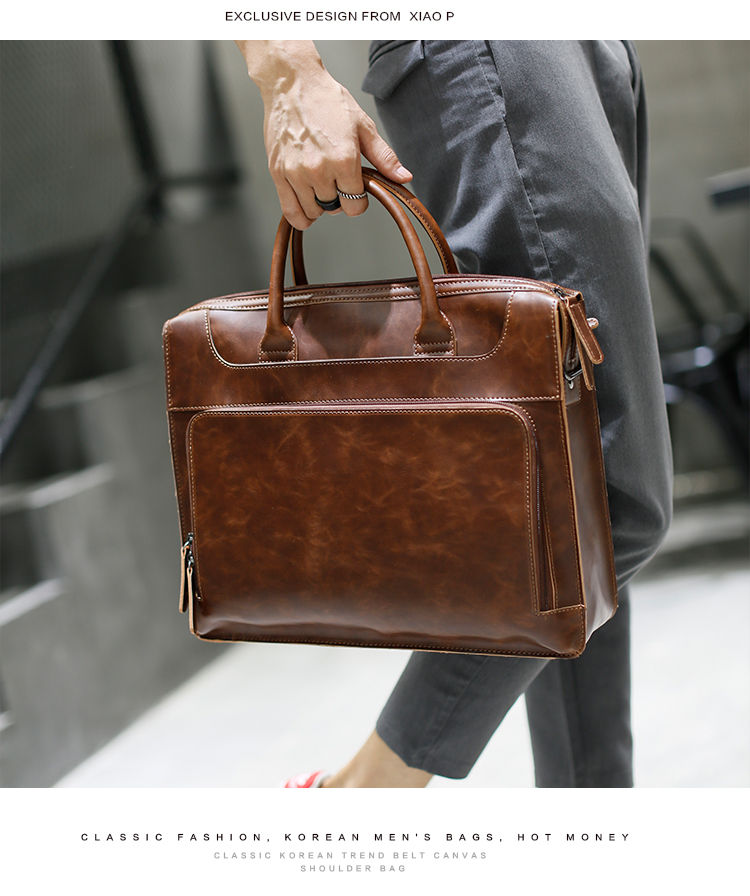 HTB12C2AX4685uJjSZFHq6A49pXa3 Brand Men's Briefcase Handbag Crazy Horse Pu Leather Messenger Travel Bag Business Men Tote Bags Man Casual Crossbody Briefcases