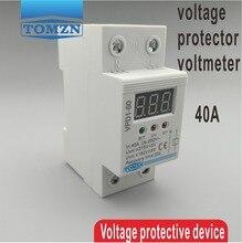 40A 220 V protección de sobre voltaje y bajo voltaje de reconexión automática dispositivo de protección relé con monitor de voltaje Del Voltímetro