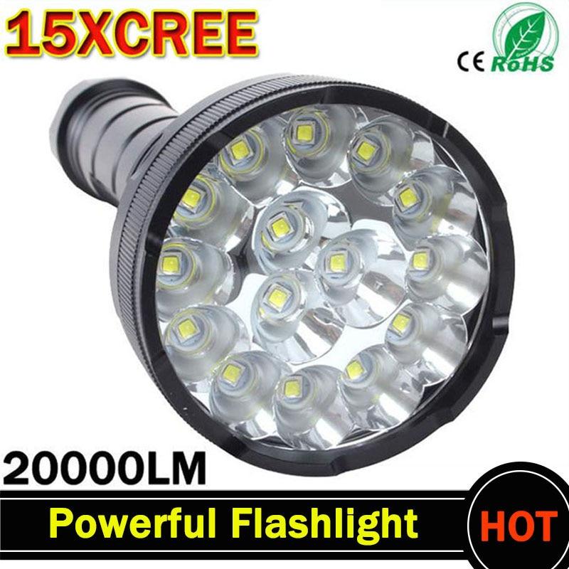 Poderosa Lanterna LED 20000 Lumens Lanterna levou linternas Tocha 15 x XM-T6 LEVOU À Prova D' Água Super Bright LED Flashlight