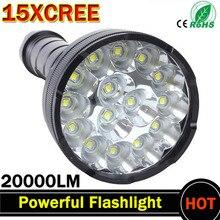 Potente linterna LED, linternas más brillantes, antorcha led de 15 x XM T6, resistente al agua, súper brillante
