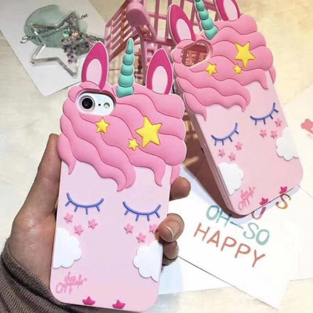 best loved e6d99 70925 US $1.65 17% OFF|3D Cute Cartoon Unicorn Case For Samsung Galaxy S6 S7 Edge  S8 Plus G360 J1 J1Ace J120 J2 Prime Cute Soft Silicone Phone Cover-in ...