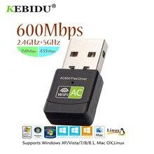 Kebidu – adaptateur Wifi USB 600Mbps, récepteur sans fil 2.4 + 5 Ghz, pilote gratuit, carte réseau 802.11n/g/b pour PC, vente en gros