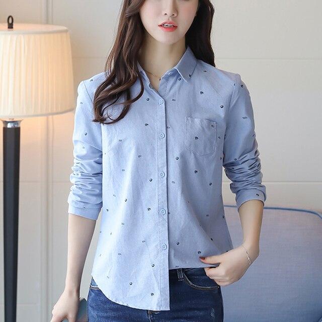 7768791de77 Весна Новый 2019 женский блузка Повседневное синий белая рубашка осень-зима  красивые длинные рукава отложной