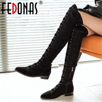 FEDONAS Women Genuine Leather Over The Knee Boots Winter Punk Cross-tied Zipper Motorcycle Boots Party Night Club Shoes Woman