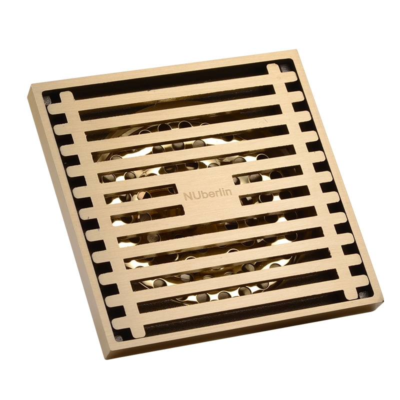 ФОТО  Gold Brass 4 inch 100*100mm Square Deodorant Bath Floor Drain Shower Waste Water Drainer